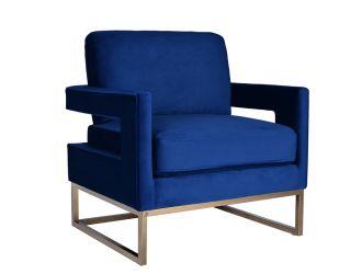Modrest Edna Modern Blue Velvet & Gold Accent Chair