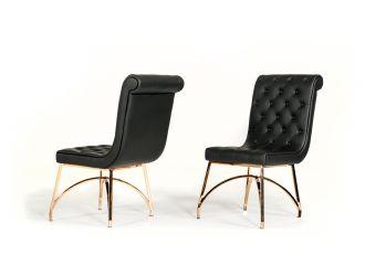 Modrest Rosie Modern Black & Rosegold Dining Chair (Set of 2)
