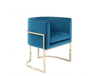 Modrest Betsy Modern Blue Velvet & Gold Dining Chair