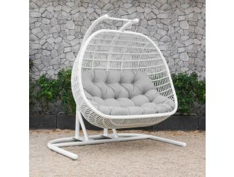 Renava San Juan Outdoor White & Grey Hanging Chair