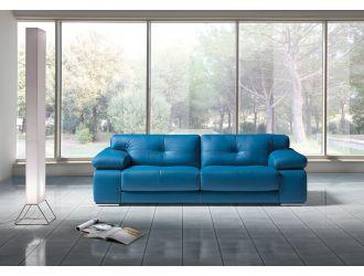 Estro Salotti Santer Modern Blue Leather Sofa Set