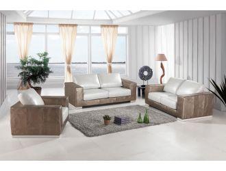 Divani Casa Cordova Modern Bronze & White Leather Sofa Set