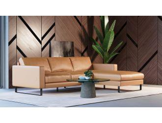 Accenti Italia Shine - Italian Modern Cognac Right Facing Sectional Sofa