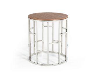 Modrest Silvia Modern Walnut & Stainless Steel End Table