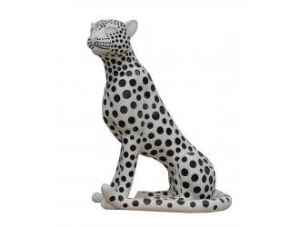 Modrest Snow Leopard - White & Black Sculpture