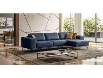 Coronelli Collezioni Soho - Italian Right Facing Maya Blue Leather Sectional Sofa