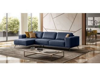 Coronelli Collezioni Soho - Italian Left Facing Maya Blue Leather Sectional Sofa