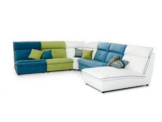 David Ferrari Spritz - Italian Modern White Leather + Blue + Green Fabric U Shaped Sectional Sofa