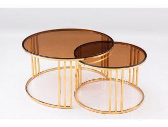 Modrest Alondra Modern Gold Coffee Table & End Table Set