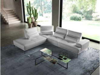Coronelli Collezioni Sunset - Contemporary Italian White Leather Left Facing Sectional Sofa