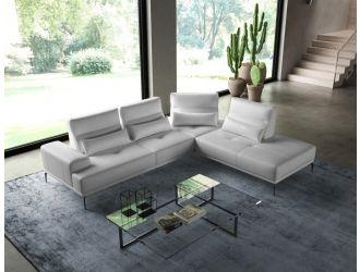 Coronelli Collezioni Sunset - Contemporary Italian White Leather Right Facing Sectional Sofa