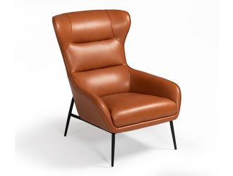 Divani Casa Susan Modern Orange Leatherette Lounge Chair