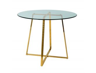 Modrest Swain - Modern Clear Glass & Gold Round Dining Table