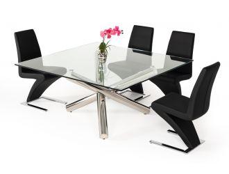 Modrest Quartz Modern Square Glass Dining Table