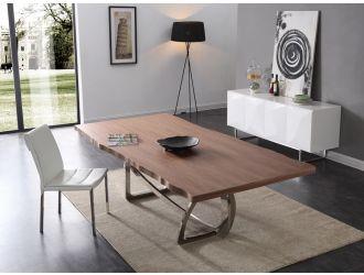 Modrest Addy Modern Walnut & Stainless Steel Dining Table