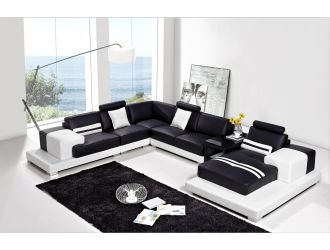 Divani Casa T317 Modern Black & White Bonded Leather Sectional Sofa