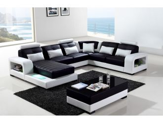 Divani Casa T322 Modern White & Black Eco-Leather Sectional Sofa