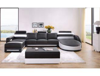 Divani Casa T337 Modern Black & White Bonded Leather Sectional Sofa