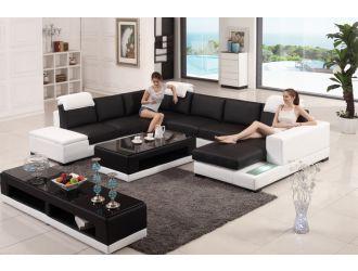 Divani Casa T715 Modern Black & White Bonded Leather Sectional Sofa