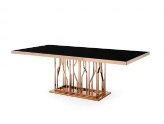 Modrest Marston Modern Black Glass & Rosegold Dining Table