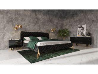 Modrest Legend Modern Black Velvet & Gold Bed