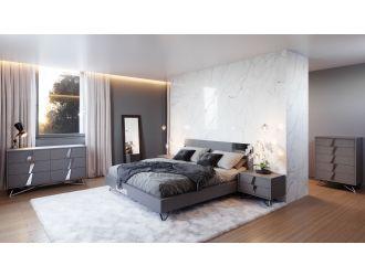 Modrest Nicola Modern Grey Oak & Stainless Steel Bed