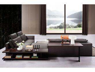 Divani Casa Tivoli Modern Grey Fabric Sectional Sofa w/ Shelves & Desk