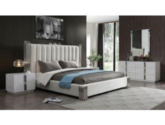 Modrest Token - Modern White + Stainless Steel Bedroom Set