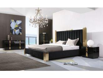 Modrest Token - Modern Black + Gold Bed + Nightstands