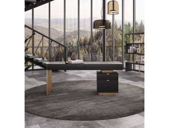 Modrest Trahan - Modern Grey Elm & Gold Office Desk