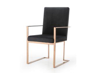 Modrest Trea - Modern Black Velvet & Rosegold Dining Chair