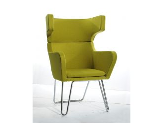 Modrest Anser Mid-Century Green Fabric Lounge Chair