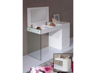 Volare Modern White Floating Glass Vanity w/ Mirror