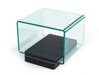 Vitro Modern Glass and Oak End Table