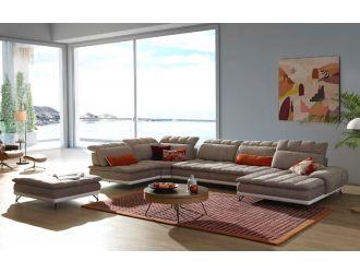 David Ferrari West End - Italian Beige Fabric + White Leather Modular Sectional Sofa