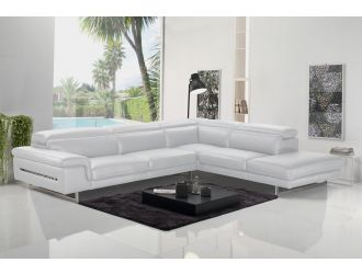 Accenti Italia Westport - Italian Modern White Leather Right Facing Sectional Sofa