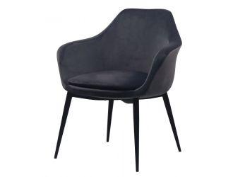 Modrest Wilson - Modern Grey Velvet & Black Dining Chair