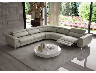 Coronelli Collezioni Wonder - Italian Modern Grey Leather Sectional Sofa with Recliners
