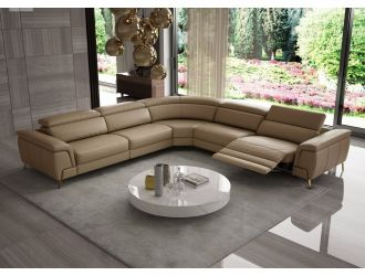 Coronelli Collezioni Wonder - Italian Modern Tan Leather Sectional Sofa with Recliner