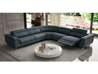 Coronelli Collezioni Wonder - Italian Modern Blue Leather Sectional with Recliners