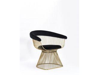 Modrest Chandler Black Velvet & Gold Dining Chair