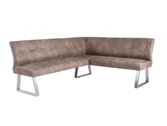 Modrest Zane Modern Brown Fabric L-Shaped Dining Bench