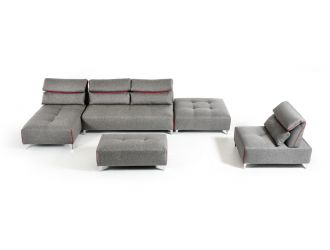 David Ferrari Zip - Modern Grey Fabric Modular Sectional Sofa