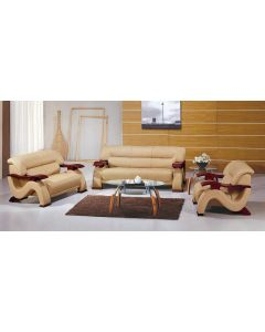 2033 Contemporary Leather Sofa set in Beige Color