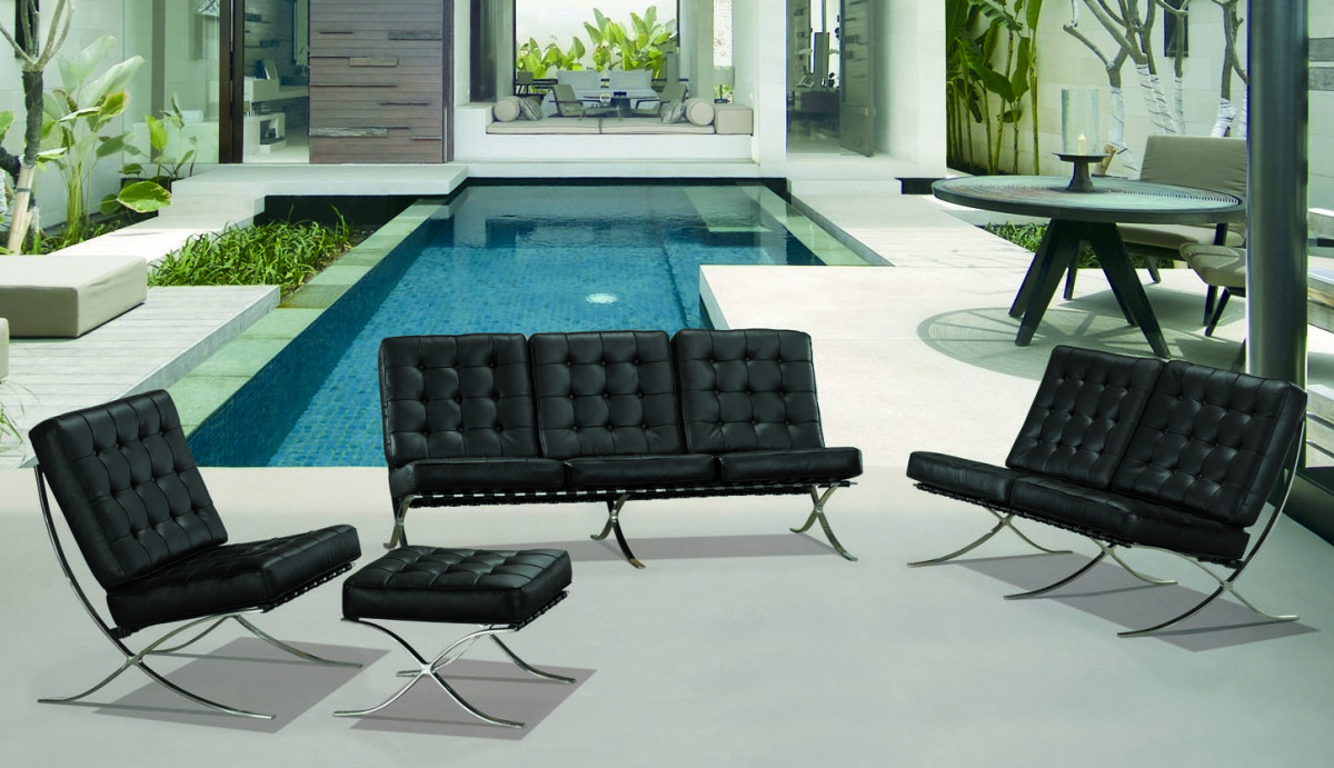 ET001 Modern Black Leather Sofa Set