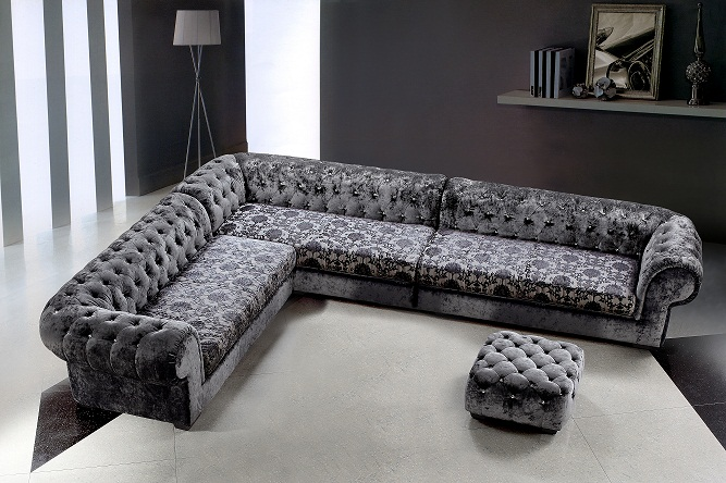 Metropolitan Fabric Sectional Sofa and Ottoman with Crystals