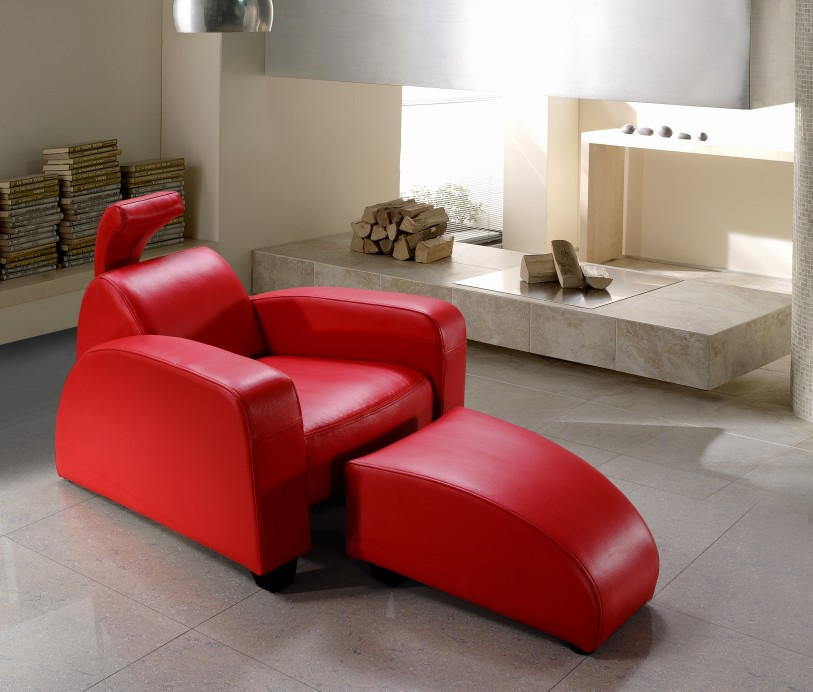Rosso Red Lounge Chair and Ottoman