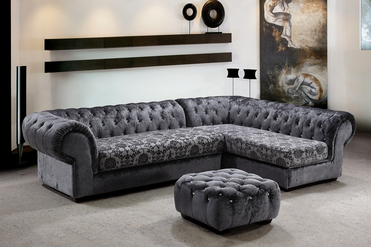 Metropolitan 3 Piece Fabric Sectional Sofa & Ottoman with Crystals