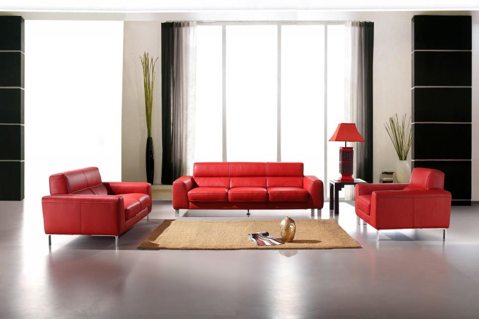 Renava Italian Leather 216 Sofa Set in Red