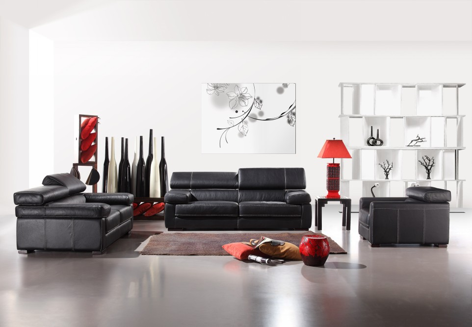 What furniture will match white colored living room walls - Red black and white furniture ...